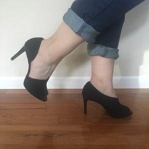 Black Peep-Toe Suede Heels